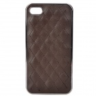Skin Checked Pattern Genuine Leather Protective PS Back Case for Iphone 4 / 4S - Coffee