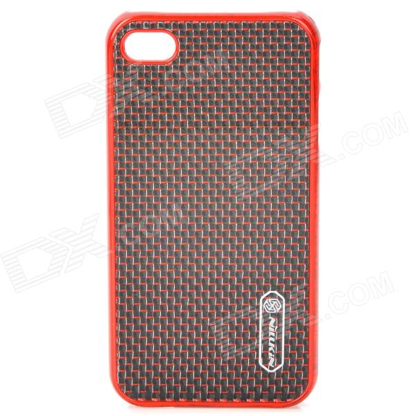 NILLKIN Protective Plastic Back Case with Screen Protector for Iphone 4 / 4S - Red + Black stylish bubble pattern protective silicone abs back case front frame case for iphone 4 4s