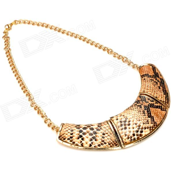 Fashion Ethnic Style Snakeskin Printed Necklace - Orange + Black + Grey old antique bronze doctor who theme quartz pendant pocket watch with chain necklace free shipping