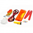 7-in-1 Tow Rope + Battery Cables + Flashlight + Fuses + Gloves + Reflective Vest Car Emergency Kit
