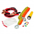 5-in-1 Tow Rope + Battery Cables + Gloves + Flashlight + Fuses Car Emergency Kit