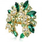 Fashion Bling Rhinestone Embellish with Crescent Style Brooch Pin - Green + Golden