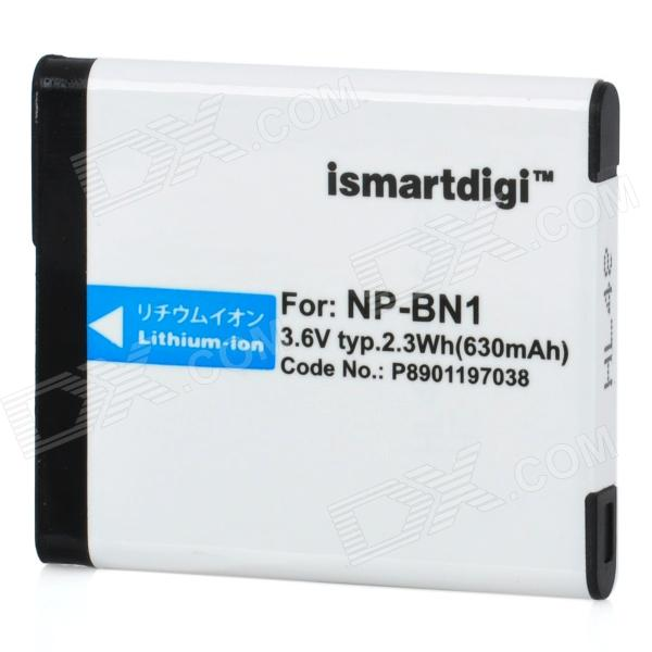 Ismartdigi NP-BN1 Replacement 3.6V 630mAh Li-ion Battery for Sony DSC-W570 + More - White replacement compatible 7 2v 3700mah battery pack for sony np fv100