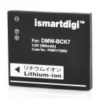 Ismartdigi DMW-BCK7 Replacement 3.6V 680mAh Li-ion Battery for Panasonic DMC-FX77 + More - Black