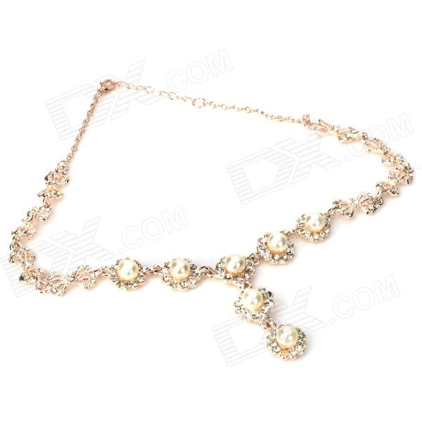 Fashion Lady's Artificial Pearl w/ Rhinestone Pendent Necklace kcchstar fashion bow style w pearl crystal pedant necklace for women golden white