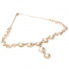 Fashion Lady's Artificial Pearl w/ Rhinestone Pendent Necklace