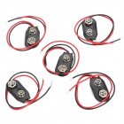 9V Safe Plastic + Stainless Material Battery Buckle - Black + Red (5-Piece Pack)