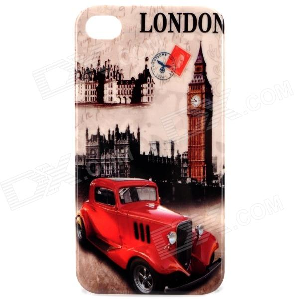 Stylish Protective PC Back Case for Iphone 4 / 4S - London Big Ben + Car Pattern cartoon pattern matte protective abs back case for iphone 4 4s deep pink