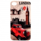 Stylish Protective PC Back Case for Iphone 4 / 4S - London Big Ben + Car Pattern