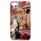 Statue of Liberty + Eiffel Tower Pattern Protective PC Back Case for Iphone 4 / 4S - Multi-Color
