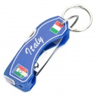 2012 European Cup Italy Logo 6-in-1 Multi-Tool Knife with Keychain - Blue + Silver