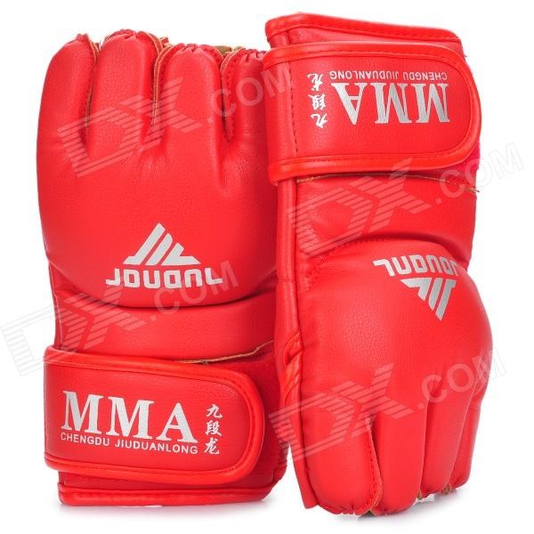 Martial Arts Training Free Combat Half Fingers Gloves - Red (Pair) new mma gloves grappling martial arts leather genuine cowhide punching bag mitts sparring cage fighting combat training