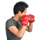 Martial Arts Training Free Combat Half Fingers Gloves - Red (Pair)