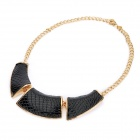 Fashion Ethnic Style Snakeskin Printed Necklace - Black