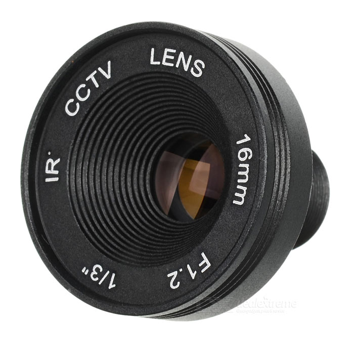 Aluminum Alloy 16mm F1.6 CCTV Camera Lens - Black