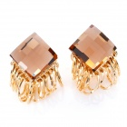 Stylish Champagne Crystal 11-Ring Decoration Earrings - Brown + Golden (Pair)