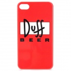 Duff Beer Style Protective PC Back Case for iPhone 4 / 4S - Red + Black + White
