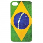 Vintage Brazil Flag Style Protective PC Back Case for iPhone 4 / 4S - Green + Yellow + Blue