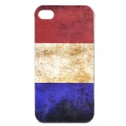 Vintage France Flag Style Protective PC Back Case for iPhone 4 / 4S - Red + Brown + Blue