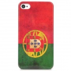 Vintage Portugal Flag Style Protective PC Back Case for iPhone 4 / 4S - Red + Green