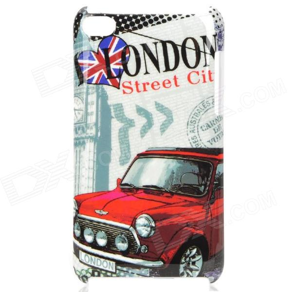 London Street Style Protective PC Back Case for Ipod Touch 4 - Grey + Red