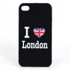I Love London Style Protective PC Back Case for iPhone 4 / 4S - Black