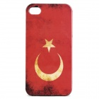 Vintage Turkey Flag Style Protective PC Back Case for Iphone 4 / 4S - Red