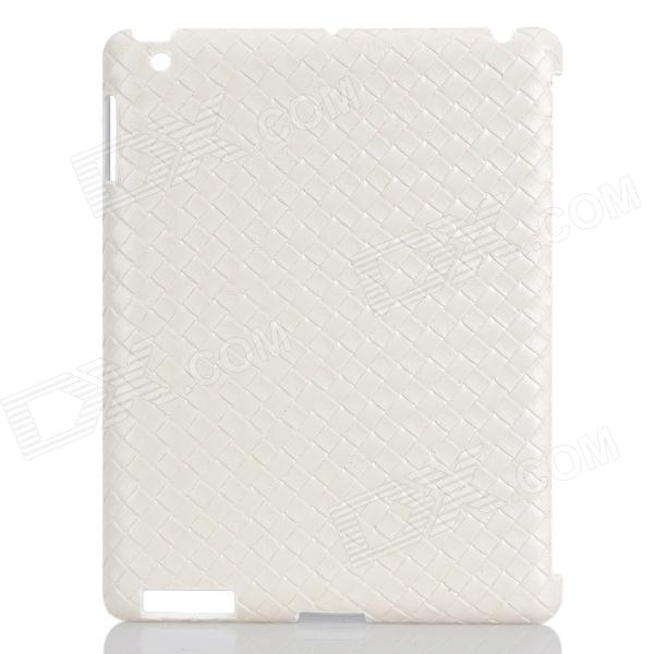 Protective Weave Pattern Back Case for Ipad 2 / The New Ipad - White cute faerie pattern protective pu leather case cover stand for ipad air green