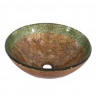 Brown and Green Round Tempered glass Vessel Sink With Pop -up and Mounting Ring