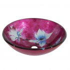 Flower Tempered Glass Vessel Sink With Pop-up and Mounting Ring