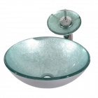 Transparence Round Tempered Glass Vessel Sink With Waterfall Faucet, Mounting Ring and Water Drain