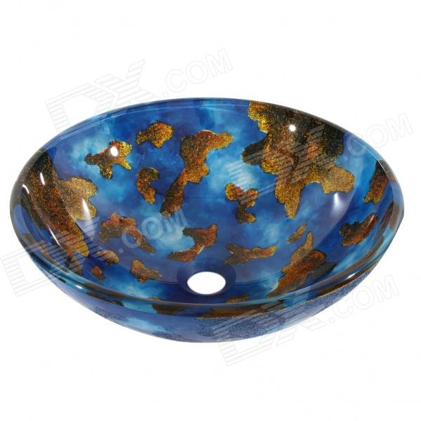 Round Tempered glass Vessel Sink With Pop-up and Mounting Ring