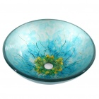 Round Flower Tempered glass Vessel Sink With Pop-up and Mounting Ring