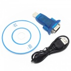 USB 2.0 to RS232 Serial 9-Pin DB9 Adapter Converter - Translucent Blue