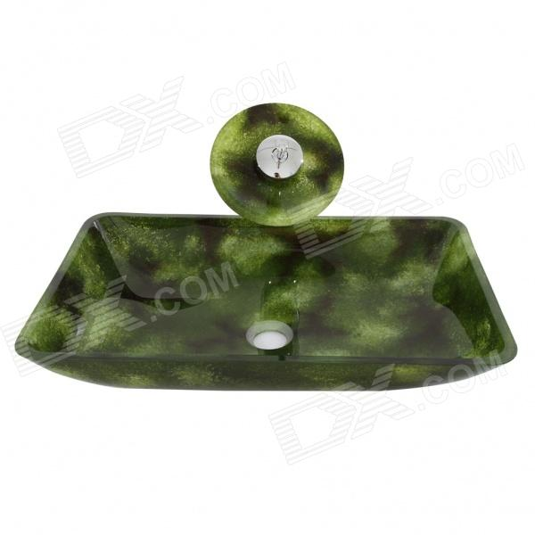 Rectangular Tempered glass Vessel Sink With Waterfall Faucet Pop-Up drain and Mounting Ring