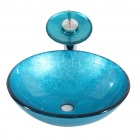 Blue Tempered Glass Vessel Sink With Waterfall Faucet ,Pop - Up drain and Mounting Ring