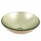 Round Golden Tempered Glass Vessel Sink With Pop-up and Mounting Ring