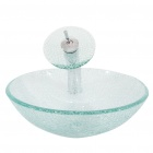 Round Transparent Tempered glass Vessel Sink With Waterfall Faucet Pop-up and Mounting Ring