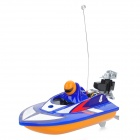 Rechargeable 2-Ch R/C Racing Boat Model with Remote Controller - Sky Blue + Yellow + Black