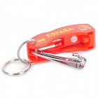 2012 European Cup Spanish Logo Pattern 6-in-1 Multi-Tool Knife with Keychain - Red + Silver