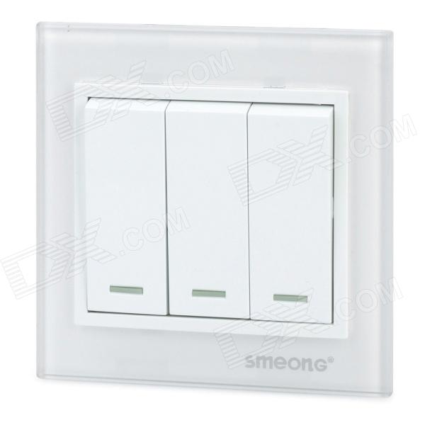 SMEONG Glass Panel Three Gang Power Control Wall Switch - White original inverter control panel fr du04