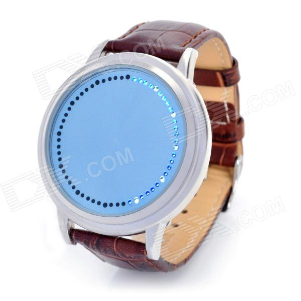 Stylish Blue LED Touch Screen Leather Band Digital Wrist Watch - Blue + Brown (2 x CR2016) stylish 8 led blue light digit stainless steel bracelet wrist watch black 1 cr2016