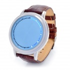 Stylish Blue LED Touch Screen Leather Band Digital Wrist Watch - Blue + Brown (2 x CR2016)