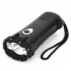 Hand-Crank Rechargeable 1-1W LED + 2-LED 3-Mode 20LM Dynamo Flashlight - Black