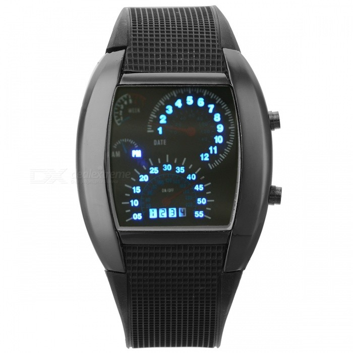 Sports Fashion Blue LED Digital Analog Wrist Watch - Black