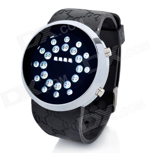 Fashion Silicone Band Circle Ball White LED Light Wrist Watch - Black (2 x CR2016) fashion blue light led water resistant wrist watch black grey 2 x cr2016