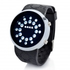 Fashion Silicone Band Circle Ball White LED Light Wrist Watch - Black (2 x CR2016)