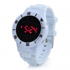 Sports Silicone Band Red LED Wrist Watch - White (1 x CR2032)