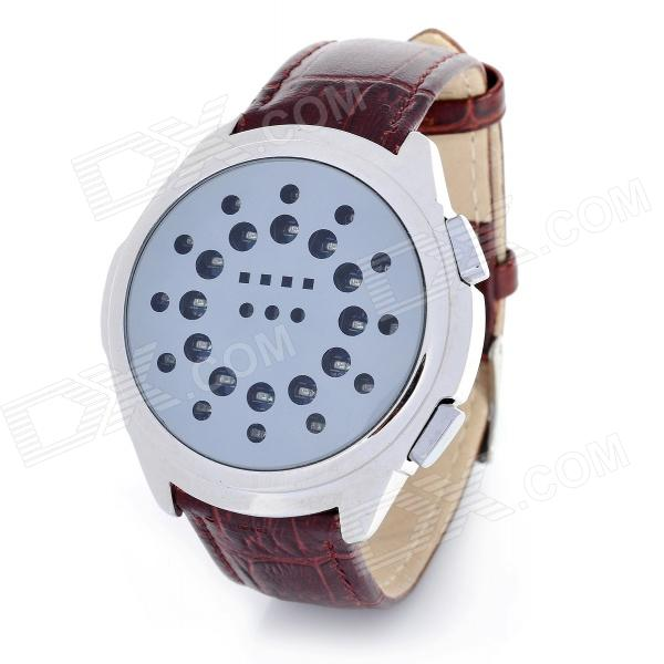 Fashion PU Leather Band Circle Ball Blue LED Light Wrist Watch - Brown (2 x CR2032) fashion blue light led water resistant wrist watch black grey 2 x cr2016