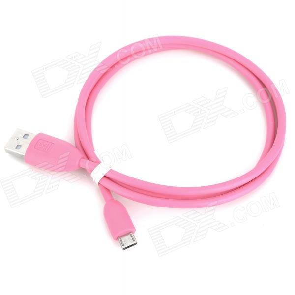 USB 2.0 Male to Micro USB Male Charging Data Cable for Cellphones - Pink (93cm)